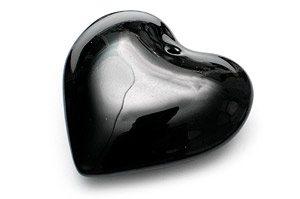 Akrylhjärta Slät Svart 44mm