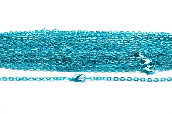 Färgad halskedja med lås Turkos 50cm