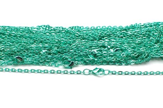 Färgad halskedja med lås Mintgrön 50cm
