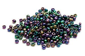 Seed beads 6/0, 4mm, Oljeskimrande