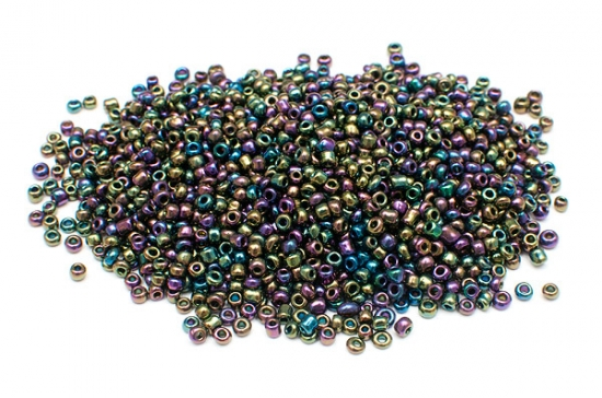 Seed beads 11/0, 2mm, Oljeskimmer