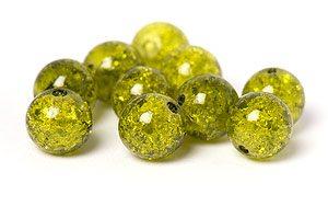 Krackelerade Glaspärlor Khaki 10mm