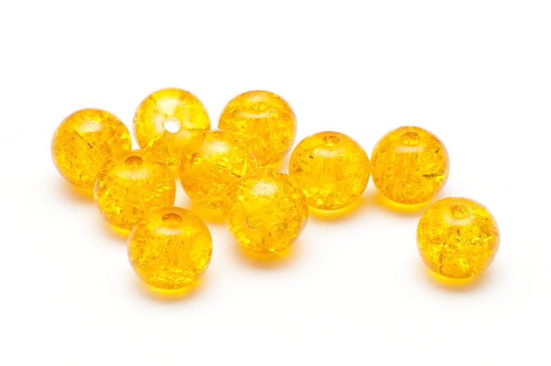 Krackelerade Glaspärlor Guldgul 8mm