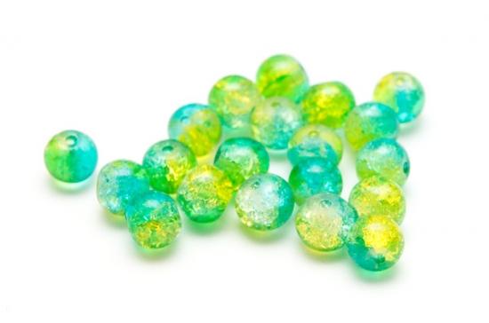 Krackelerade Glaspärlor Grönturkos 6mm