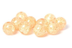 Krackelerade Glaspärlor Cremegul 10mm