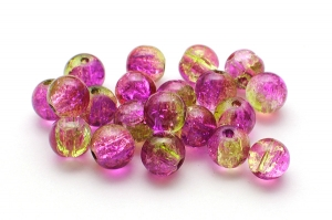 Krackelerade glaspärlor Cerise/guld 8mm