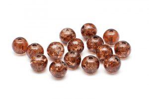 Krackelerade Glaspärlor Brun 6mm