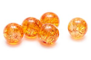 Krackelerade Glaspärlor 12mm Orange