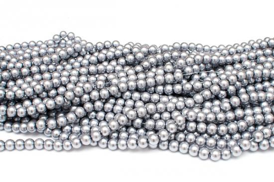Hel sträng Vaxade glaspärlor 8mm Silver