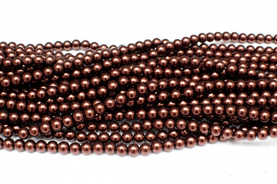 Hel sträng Vaxade glaspärlor 8mm Chokladbrun