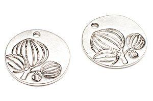 Antiksilver Runda mynt med blommönster