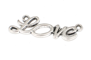 Antiksilver ordberlock Love