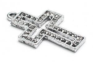 Antiksilver kors för strass