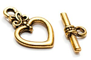 Antikguld Toggleslås Hjärta