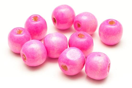 Träpärlor Runda 12mm Rosa