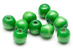 Träpärlor Runda 12mm Grön