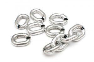 Metallöverdragna akryllänkar 10st