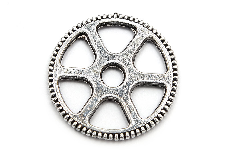 Antiksilver berlock/connecter Kugghjul