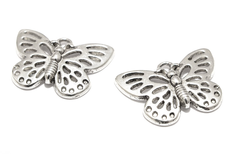 Antiksilver berlocker Två fjärilar