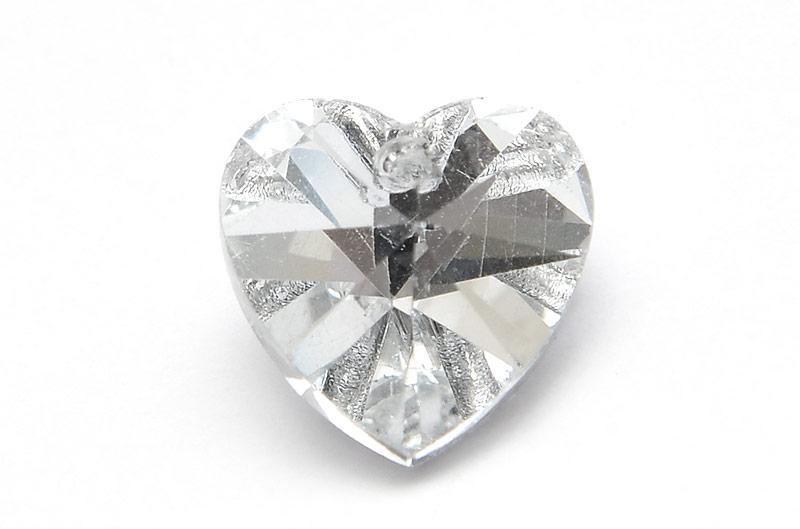 Glasberlock hjärta med pointback, Silver