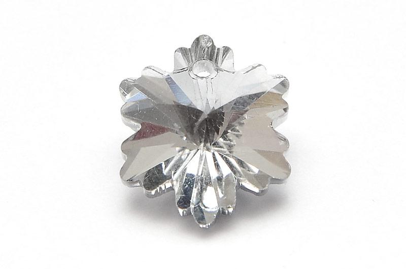 Glasberlock Snöflinga med pointback, Silver
