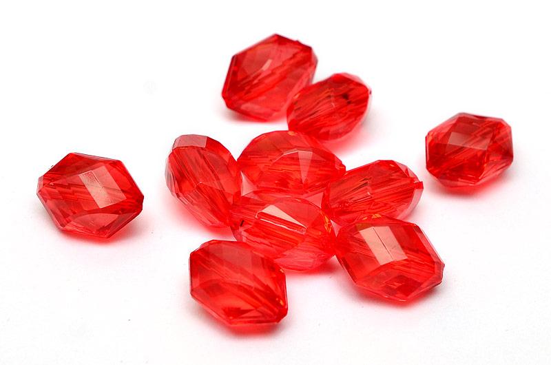 Akrylpärlor vriden och fasetterad Röd