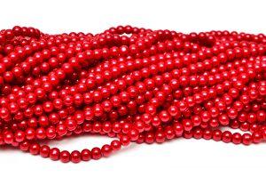 Hel sträng Vaxade glaspärlor 6mm Röd