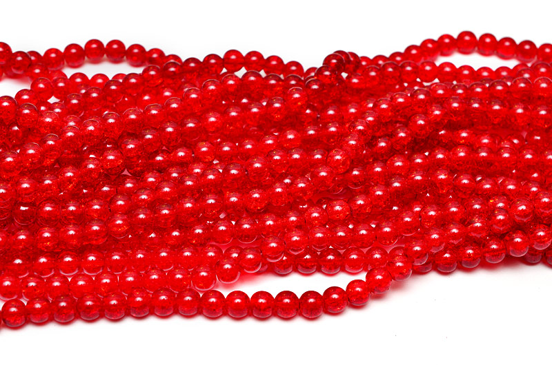 Krackelerade glaspärlor 8mm Röd