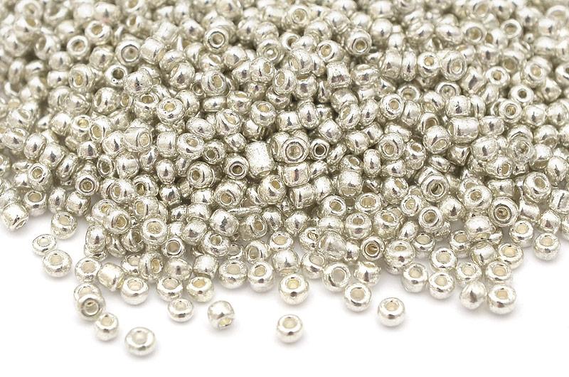 Seed beads 11/0, 2mm, Metallic silver
