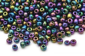 Seed beads 8/0, 3mm, Oljeskimmer