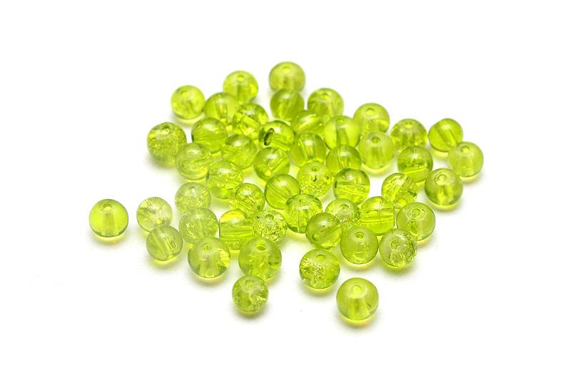 Krackelerade Glaspärlor Olivgrön 4mm