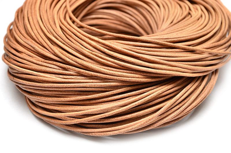 Äkta lädersnöre 2mm Ljusbrun