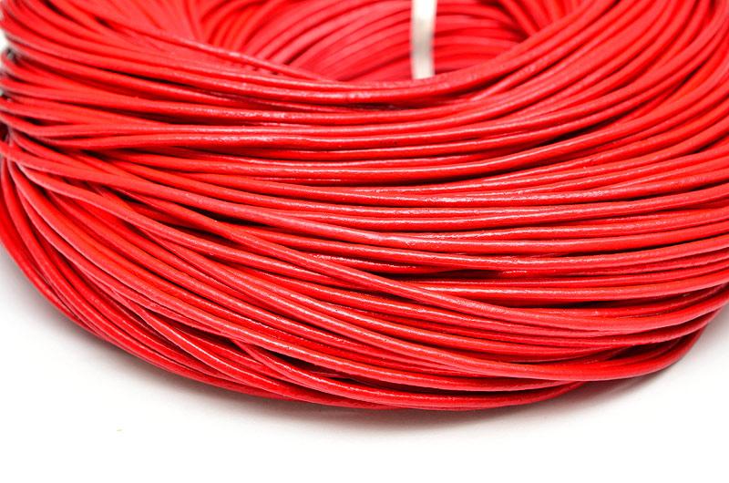 Äkta lädersnöre 2mm Röd