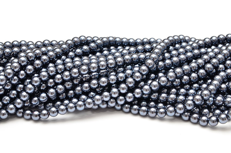 Hel sträng Vaxade glaspärlor 8mm Stålgrå