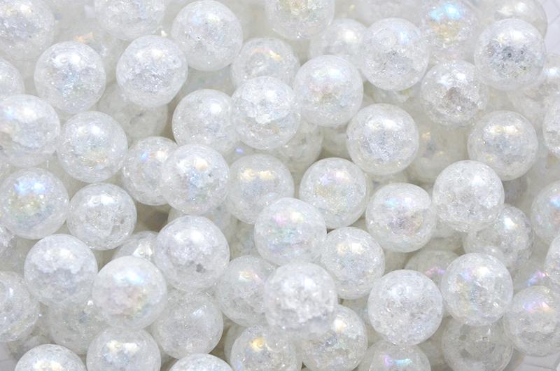 Runda bergskristallpärlor med AB skimmer, 10mm