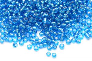 Seed beads 8/0, 3mm, Silverlined turkos