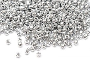 Seed beads 8/0, 3mm, Metallic silver