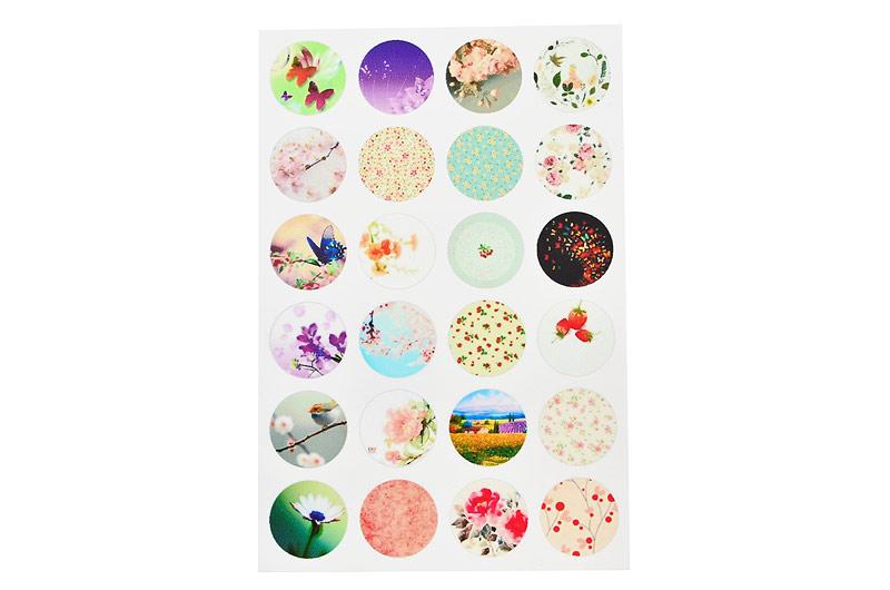 Bakgrundsbilder för bildsmycken, 24st 18mm, blommor och fjärilar