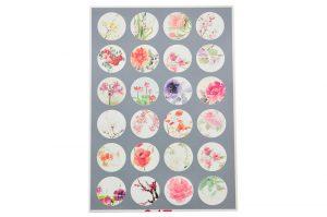 Bakgrundsbilder för bildsmycken, 24st 18mm, målade blommor