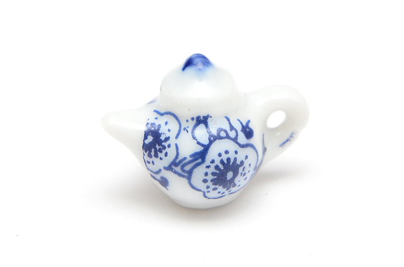 Miniatyr tekanna i keramik, blå blommor