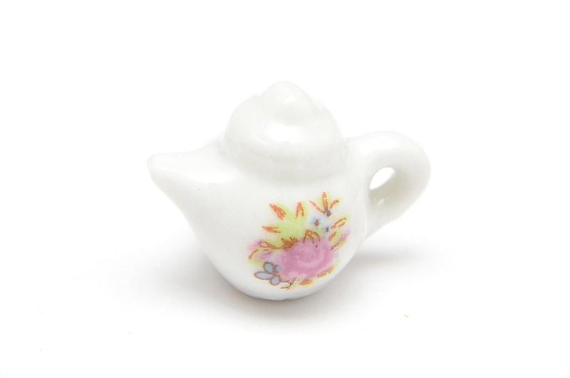 Miniatyr tekanna i keramik, sommarblommor