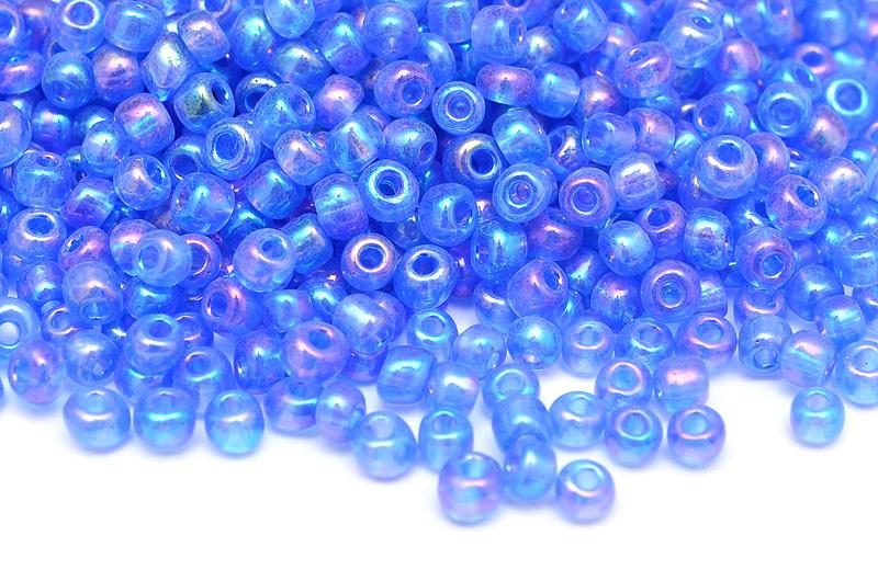 Seed beads 8/0 3mm Transp. blå AB