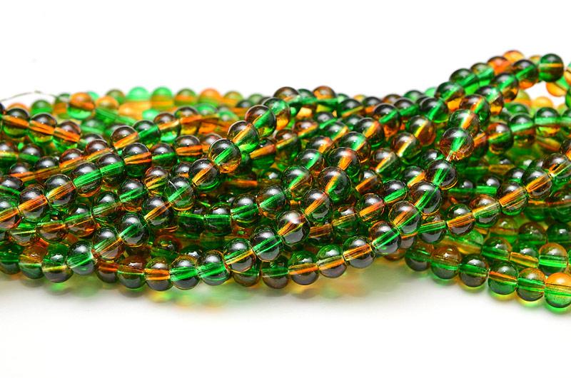 Runda glaspärlor 6mm Grön/Orange