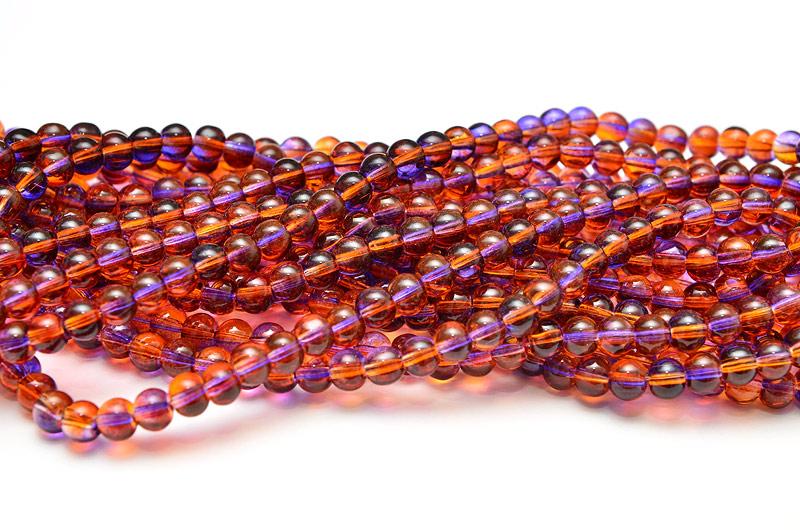 Runda glaspärlor 6mm Lila/Orange
