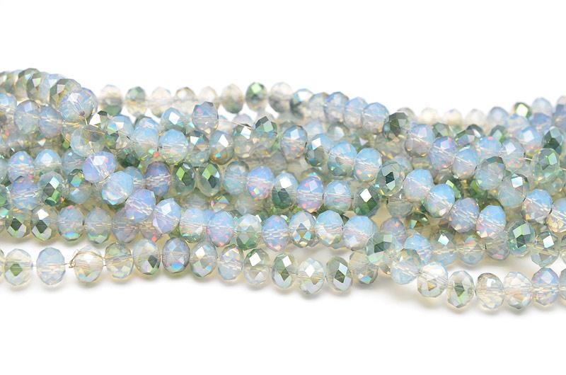 Fasetterade rondeller Opal/Grön 8x6mm