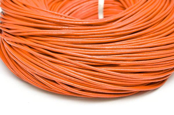 Äkta Lädersnöre 2mm Orange