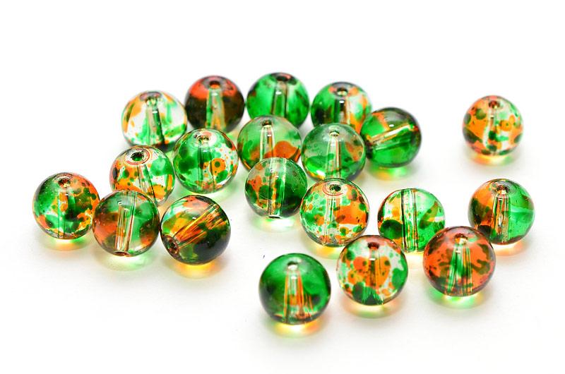 Glaspärlor Picasso runda 8mm Grön/Orange