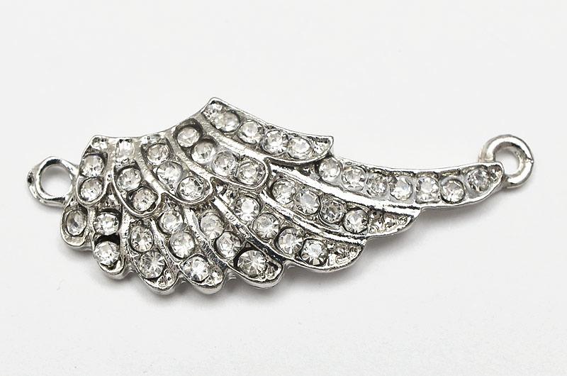 Antiksilver connecter, vinge med många kristaller