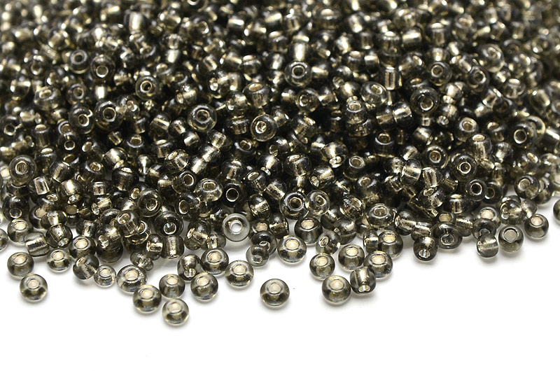 Seed beads 11/0, 2mm, Silverlined Grå
