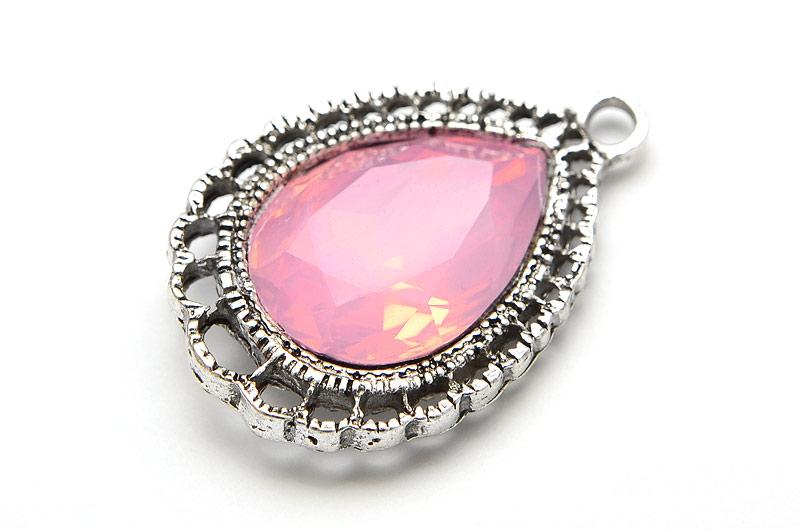 Antiksilver berlock Droppe med stor kristall Rosa Opal